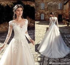 Designer Bridal Gowns With Sleeves 2019 Designer Country Lace Wedding Dresses Sheer Long Sleeves Appliqued A Line Tulle Long Bridal Gowns Cheap Custom Made Bc0936 Gown Wedding Latest