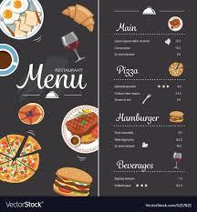 Food Menu Design Restaurant Food Menu Design With Chalkboard Vector Image