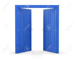 double door open. Blue Double Door Open On White Background 3d Rendering Stock Photo - 70793134 O