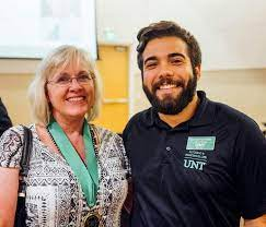 UNT College of Liberal Arts and Social Sciences - Congrats to Shelley Riggs,  Professor of Psychology and winner of the 2018 CLASS Advisory Board Award  for Excellence in Graduate Teaching. Photographed beside