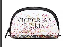 victoria s secret glitter black pink beauty makeup cosmetic bag um nwt
