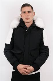 home sixth june short biker faux fur coat black white short parka with rib biker short parka