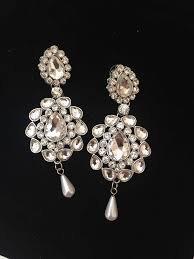 vintage style silver diamante crystal large chandelier earring bridal prom
