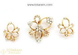 18k rose gold polish diamond pendant earrings set