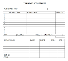 Cricket Score Sheet 20 Overs Excel Sample Cricket Score Sheet 10 Documents In Pdf