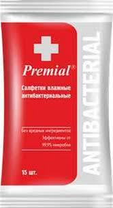 "<b>Влажные салфетки</b> ""<b>Premial</b>"", <b>антибактериальные</b> (15 штук ..."