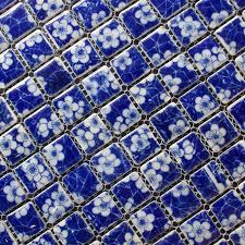 porcelain mosaic white and blue tile snowflake patterns designs kitchen backsplash wall tiles pwb110