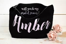 will you be my bridesmaid gift make up bag personalised cosmetic bag maid of honour gift unique gift for bridal party bags makeup bags