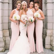 Light Pink Bridesmaid Dresses Long Long Mermaid Light Pink High Neck Simple Free Custom