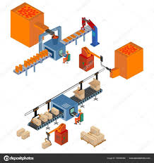 Assembly Line Design Automated Factory Assembly Line Stock Vector Krylovochka
