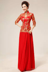 Mandarin Collar Gold Sequins Floral Embroidered Chinese Red Qipao Red Mandarin Dress With Green Embroidery