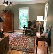 office colour design. Benjamin Moore Nantucket Gray, A Green Paint Colour. Home Office With Red And Brown Accents, Country Style. Kylie M E-design, Virtul Online Colour Design F