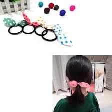 10pcs cute polka dot bow kids rabbit ears hair band tie headband girl scrunchy children ponytail headwear accessories