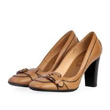 tod s leather block heel belt pumps tan