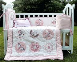 4 cotton girl baby bedding set embroidery pink erfly dragonfly quilt per cushion pillow and gray