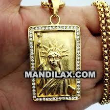 gold stainless iced lab diamond statue of liberty medallion piece mp 025pendants gold pendants diamond pendants mandilax customized jewelry in lagos