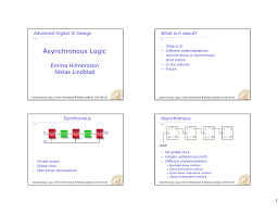 Advanced Digital Design Asynchronous Logic Emma Hilmersson Niklas Lindblad Advanced