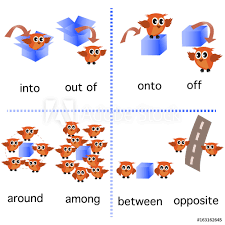 Fotografie Obraz Preposition English Grammar With Owl Motion For