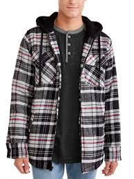 burnside burnside men s sherpa lined flannel jacket with fleece hood up to size 2xl com