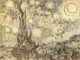 the drawing cypresses in starry night a reed pen copy executed by van gogh after the painting in 1889 originally held at kunsthalle bremen today part of