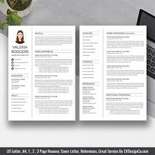 2019 Best Selling Office Word Resume Cv Templates Cover Letter References For Digital Instant Download The Valeria Resume
