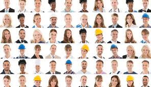 different types of people. faces of a group people in different types jobs, grid,