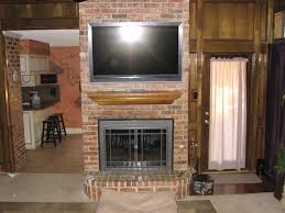 Mantel On Brick Fireplace Brick Fireplaces With Tv Above Tv Install Installation Of Tv