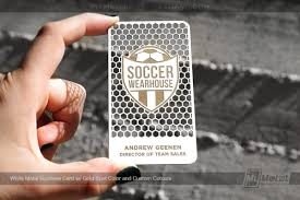 Soccer Business Card White Metal Business Card With Custom Cutouts Gold Color For