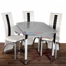 enzo set wht chr modern glass top round table