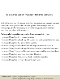 Production Manager Resumes Top 8 Production Manager Resume Samples