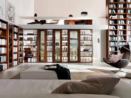 Living Room Built In Contemporary Living Room With Built In Bookshelf High Ceiling