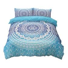 whole bohemian bedding sets mandala printing blue black white boho single double queen king size duvet cover set no filling no sheet bedding for boys