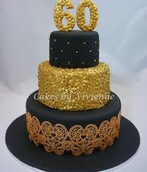 black gold 60th birthday cake