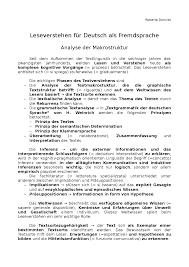 Leseverstehen F R Deutsch Als Fremdsprache Docsity