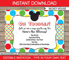 Free Mickey Mouse Template Download Mickey Mouse Invitation Template Birthday Party Instant