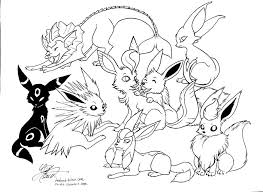 Pokemon All Eevee Evolutions Coloring Pages Colouring Pokemon