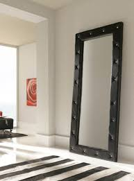 Stand Alone Mirror Bedroom Luxurious Quilted 2 Metre Tall Black Wall Mirror Full Length