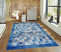 rugs area rugs carpet 5x7 area rug floor modern gray checd cool blue rugs