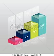 3d Chart Vector Infographic Vector 3d Chart Graph Digital Diagram Workflow Number Step By Step Option