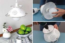 View in gallery DIY Pendant Lamp of Enameled Colander