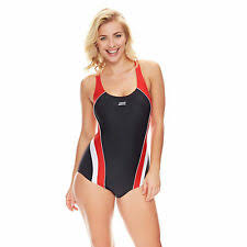 High Quality Zoggs Women Noosa Flyback Swimming Costume Black/Red/White Chlorine  Resistant
