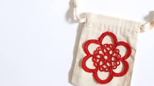 crochet appliqué gift bags