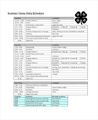 Summer Camp Daily Schedule Template Daily Schedule Template 9 Free Word Pdf Documents Download