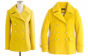 yellow peacoat 2016 j crew stadium cloth majesty peacoat review elle blogs