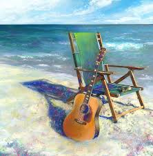 guitar painting martin goes to the beach by andrew king