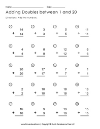 Adding Doubles Worksheet   Free Printable First Grade Math WorksheetsAdding Doubles Worksheet