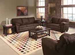 Living Room Color For Brown Furniture Decoration Classy Cream Furry Rug And Black Velvet Sofa For Your