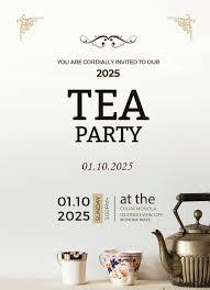 high tea party invitation card template