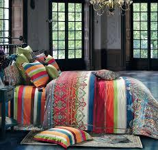 com bohemian duvet cover striped ethnic boho reversible paisley pattern cotton bedding 3 piece set colorful modern hippie style queen