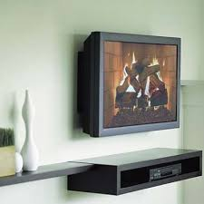 Wall mounted TV with floating shelf for DVD player - Floating wall shelves  decorating ideas